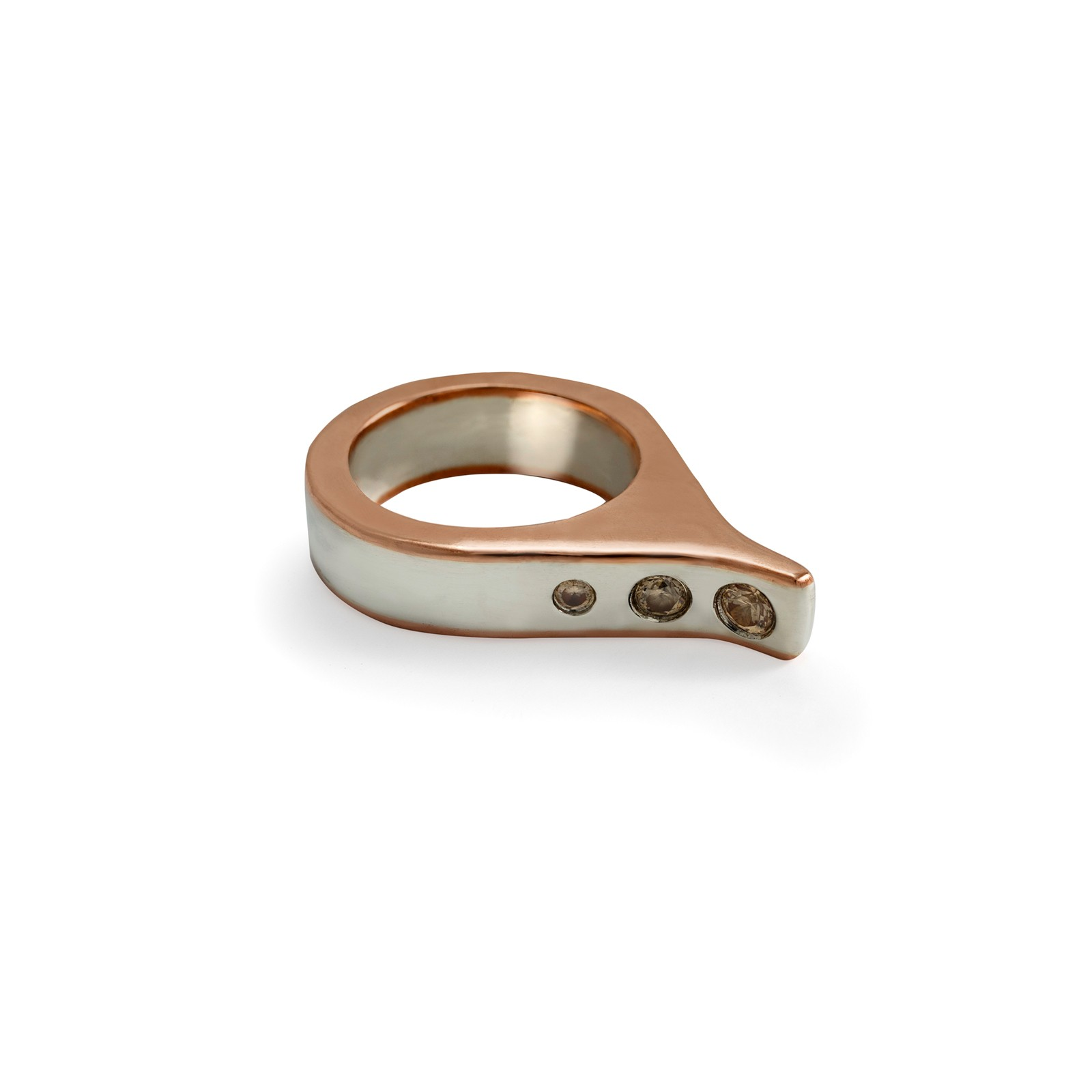 Silver 925 and copper 3D extended ring